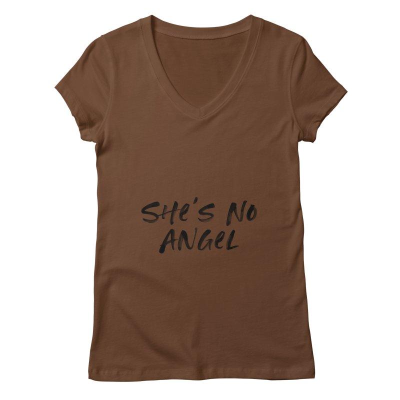 She's No Angel Women's Regular V-Neck by Unhuman Design