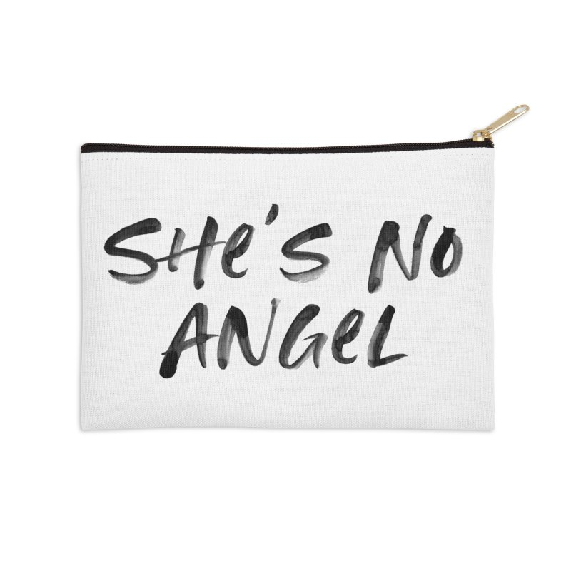 She's No Angel Accessories Zip Pouch by Unhuman Design