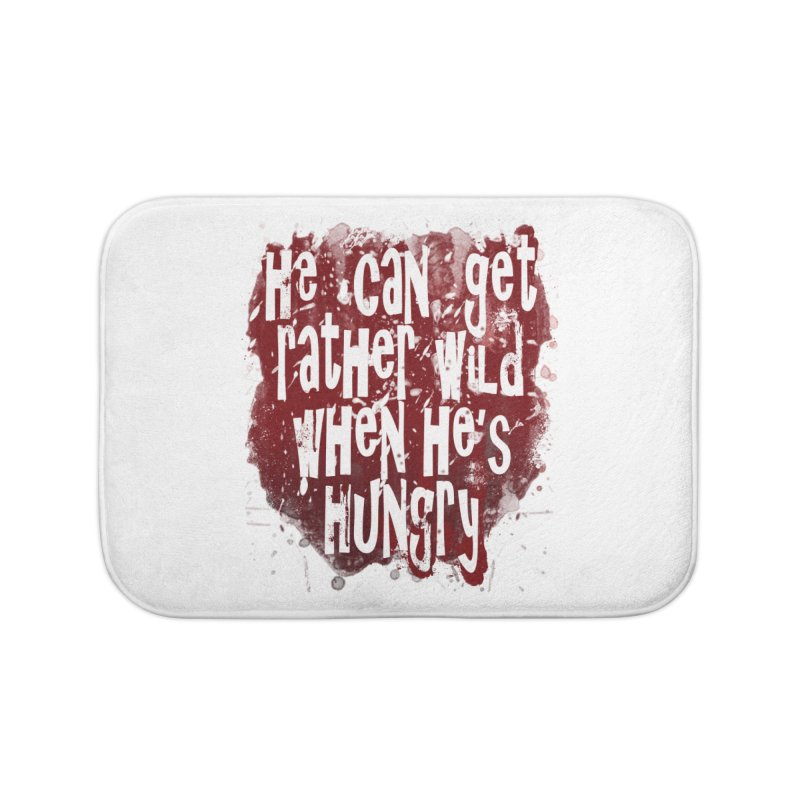 He can get rather wild when he's hungry Home Bath Mat by Unhuman Design