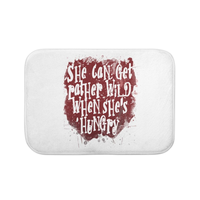 She can get rather wild when she's hungry Home Bath Mat by Unhuman Design