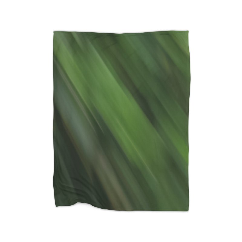 Dark Green Smudge Home Fleece Blanket Blanket by Unhuman Design