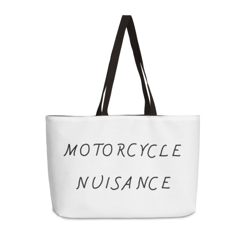 Motorcycle Nuisance Accessories Weekender Bag Bag by Unhuman Design