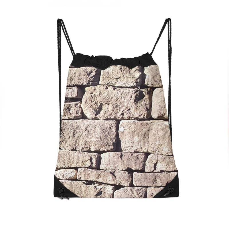 Stone Wall Accessories Drawstring Bag Bag by Unhuman Design
