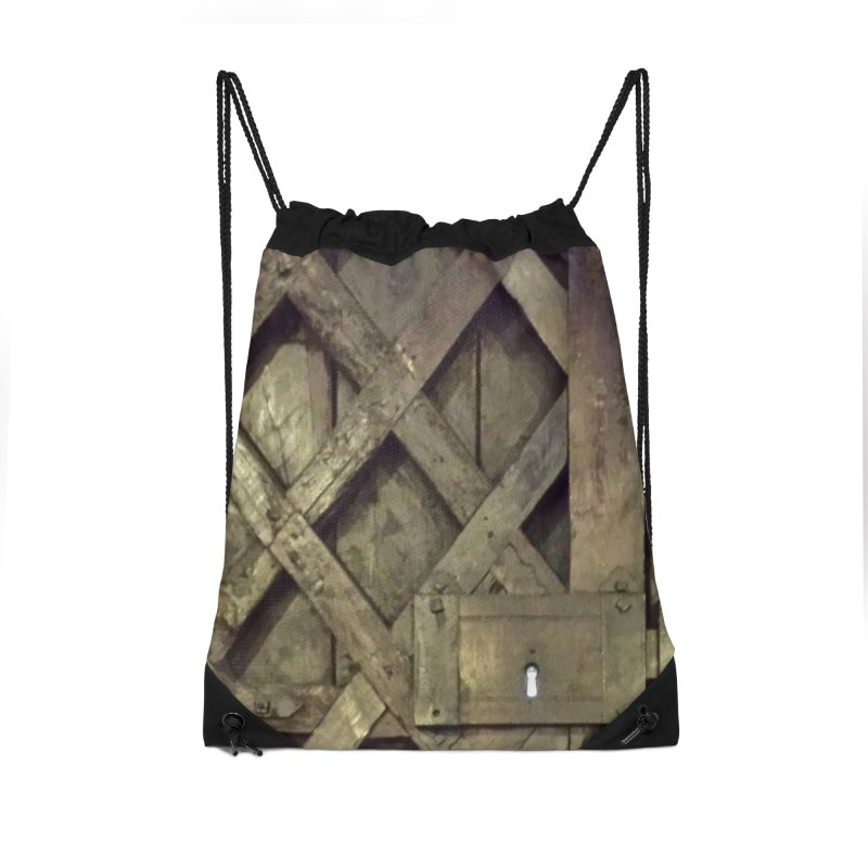 Black Door Accessories Drawstring Bag Bag by Unhuman Design