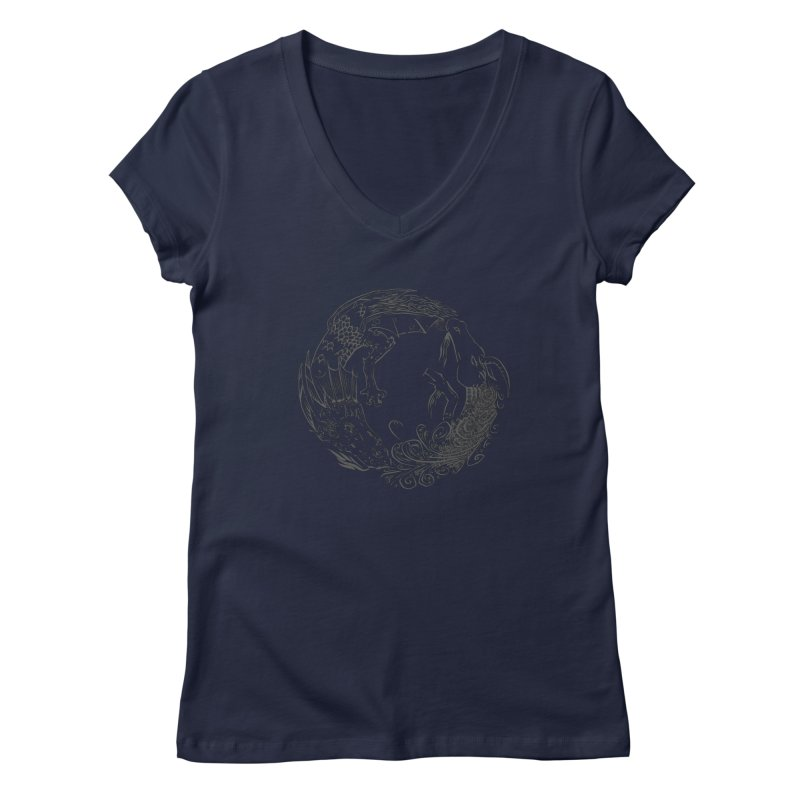 Unigon Logo, Dark Women's V-Neck by Unigon Pics Delicious Merch Shoppe