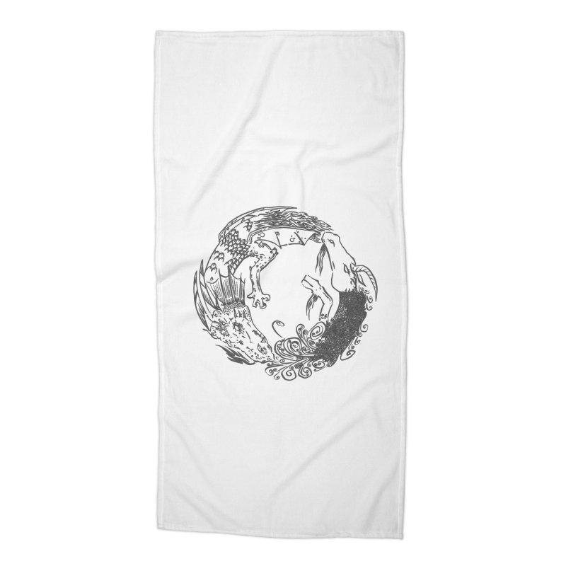 Unigon Logo, Dark Accessories Beach Towel by Unigon Pics Delicious Merch Shoppe
