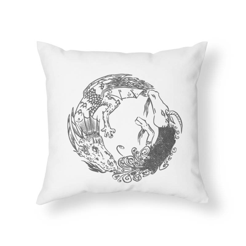 Unigon Logo, Dark Home Throw Pillow by Unigon Pics Delicious Merch Shoppe