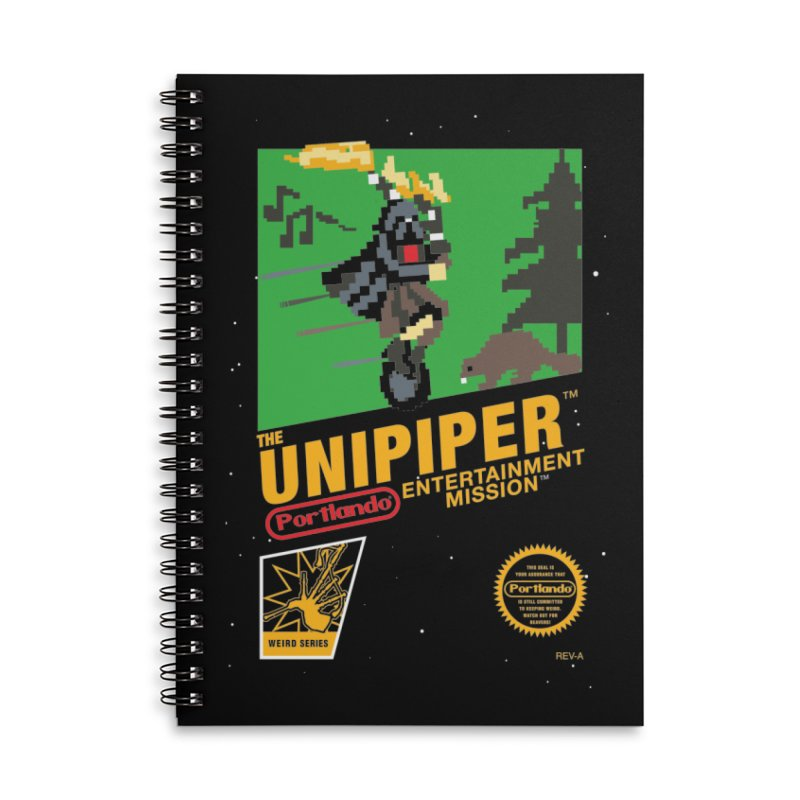 8-bit Retro Unipiper Accessories Lined Spiral Notebook by The Official Unipiper Shop!