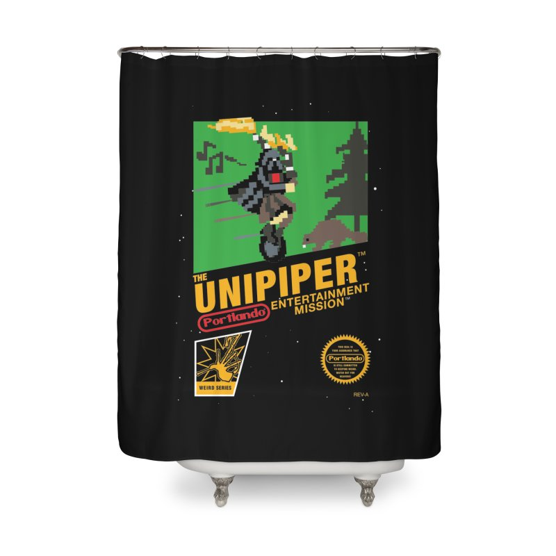 8-bit Retro Unipiper Home Shower Curtain by The Official Unipiper Shop!