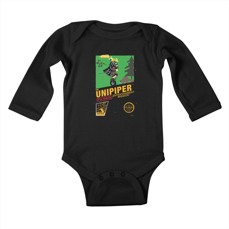 8-bit Retro Unipiper Kids Baby Longsleeve Bodysuit by The Official Unipiper Shop!