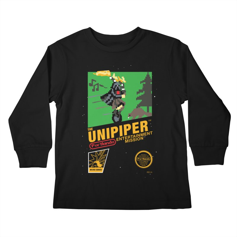 8-bit Retro Unipiper Kids Longsleeve T-Shirt by The Official Unipiper Shop!