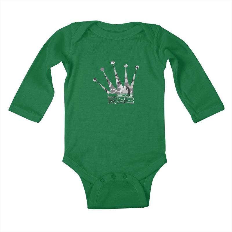 Legendary Crown - Snow Camo Edition Kids Baby Longsleeve Bodysuit by uniquego's Artist Shop