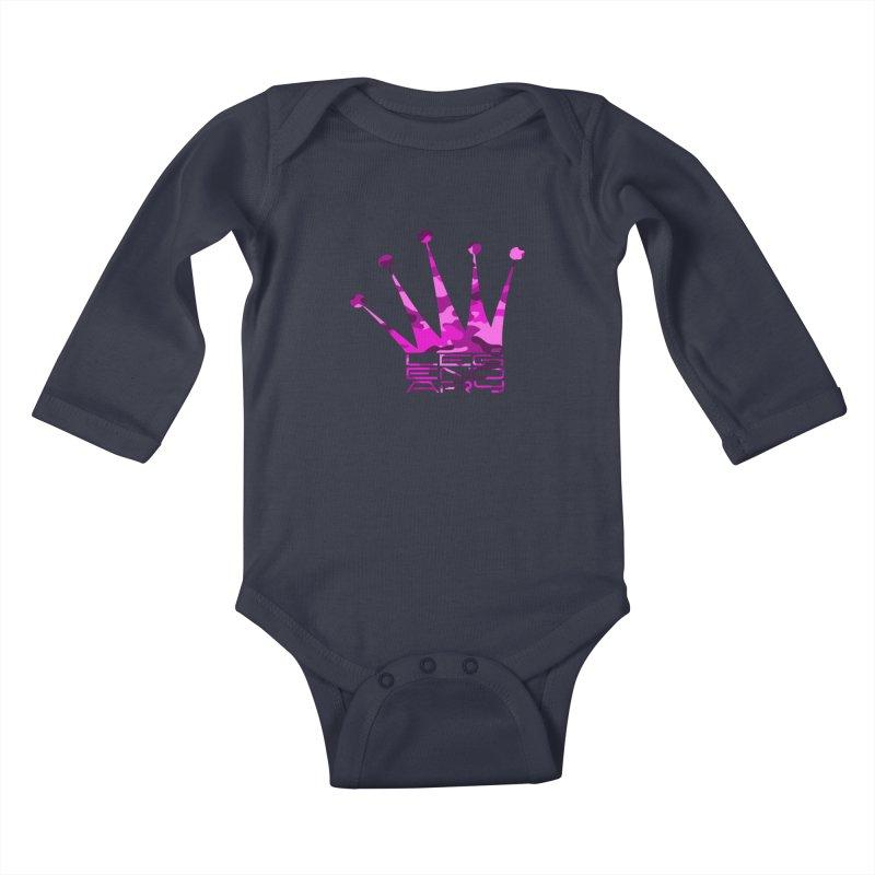Legendary Crown - Pink Camo Edition Kids Baby Longsleeve Bodysuit by uniquego's Artist Shop