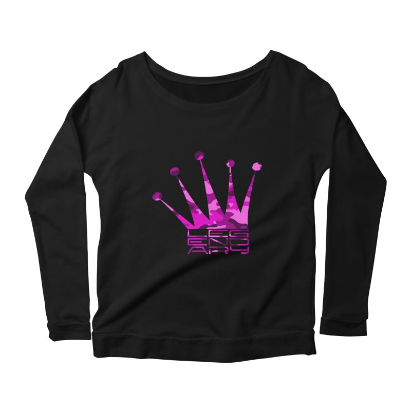 Legendary Crown - Pink Camo Edition Women's Scoop Neck Longsleeve T-Shirt by uniquego's Artist Shop
