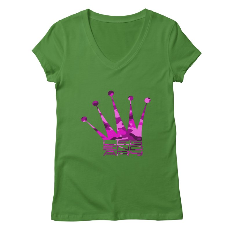 Legendary Crown - Pink Camo Edition Women's Regular V-Neck by uniquego's Artist Shop