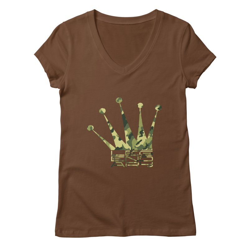 Legendary Crown - Camo Edition Women's Regular V-Neck by uniquego's Artist Shop