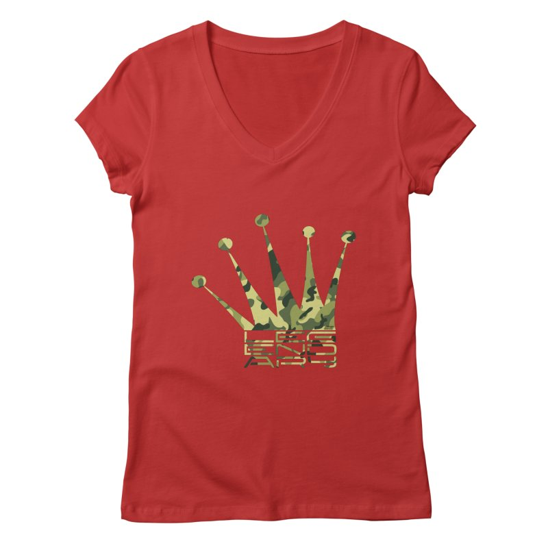 Legendary Crown - Camo Edition Women's Regular V-Neck by uniquego's Artist Shop