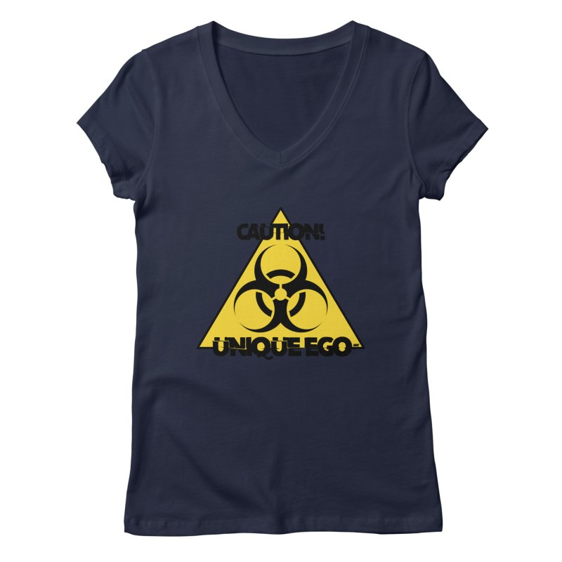 Caution! Unique Ego - The Biohazard Edition Women's Regular V-Neck by uniquego's Artist Shop
