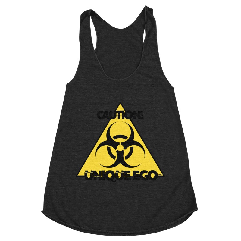 Caution! Unique Ego - The Biohazard Edition Women's Racerback Triblend Tank by uniquego's Artist Shop