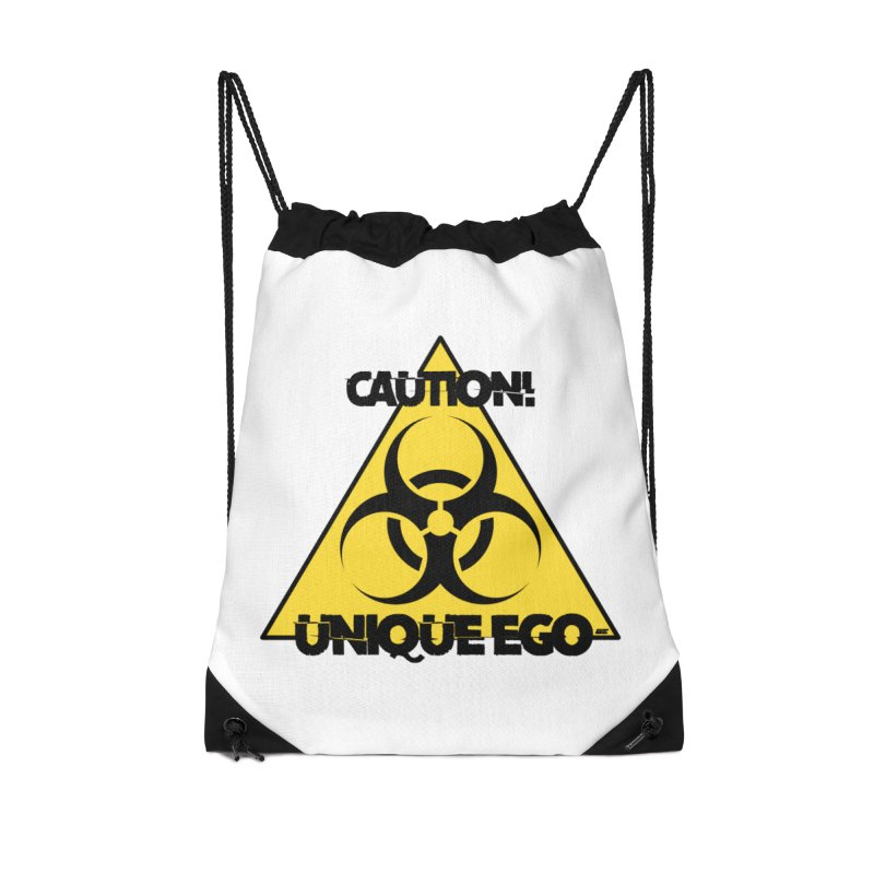 Caution! Unique Ego - The Biohazard Edition Accessories Drawstring Bag Bag by uniquego's Artist Shop