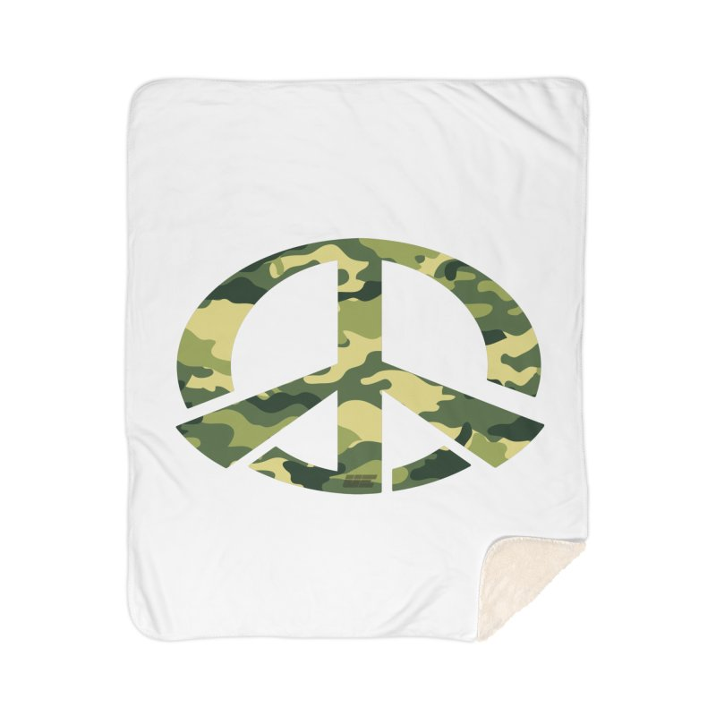 Peace - Camo Edition Home Sherpa Blanket Blanket by uniquego's Artist Shop