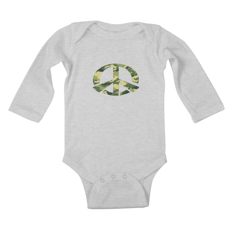 Peace - Camo Edition Kids Baby Longsleeve Bodysuit by uniquego's Artist Shop