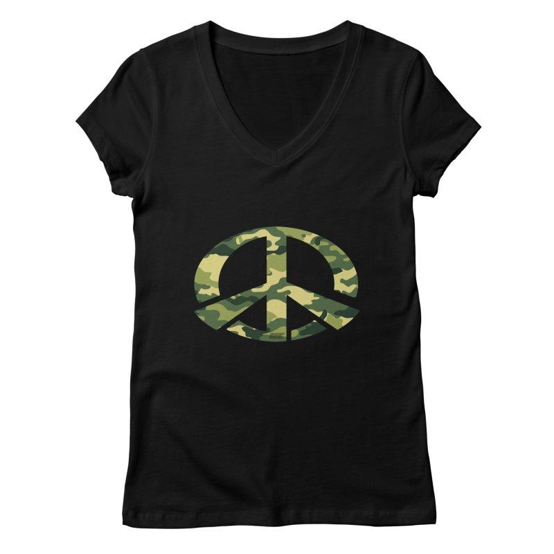 Peace - Camo Edition Women's V-Neck by uniquego's Artist Shop