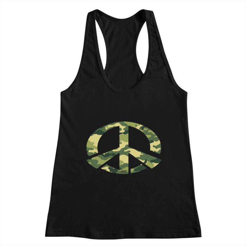 Peace - Camo Edition Women's Racerback Tank by uniquego's Artist Shop