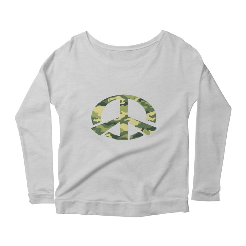 Peace - Camo Edition Women's Scoop Neck Longsleeve T-Shirt by uniquego's Artist Shop