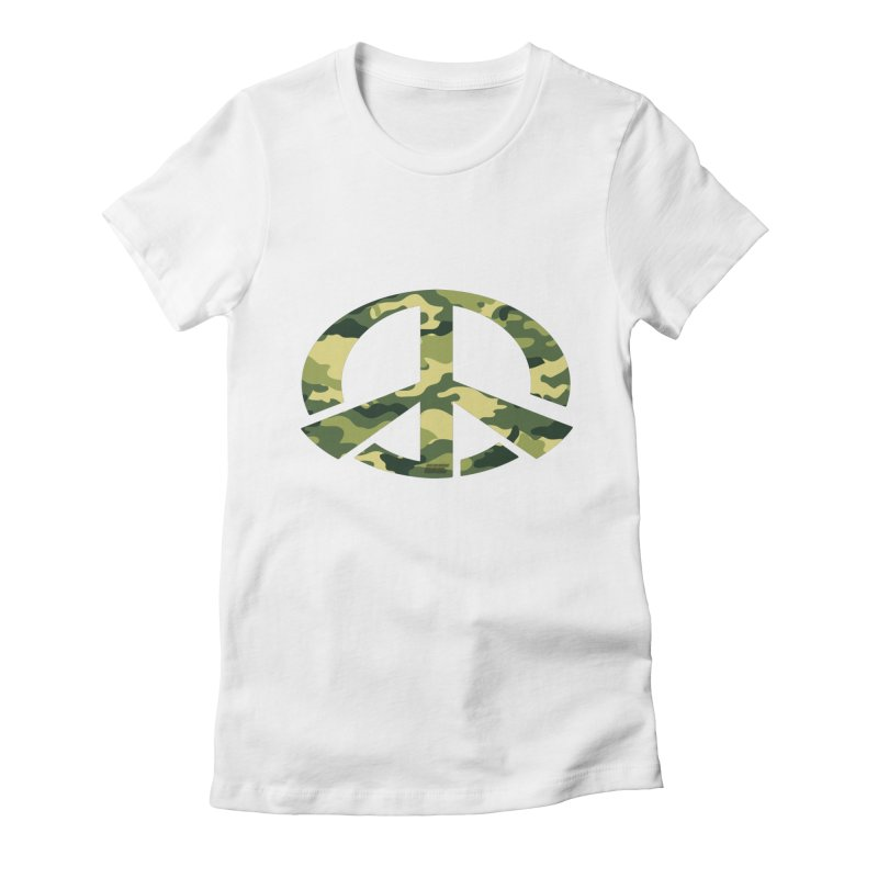 Peace - Camo Edition Women's Fitted T-Shirt by uniquego's Artist Shop