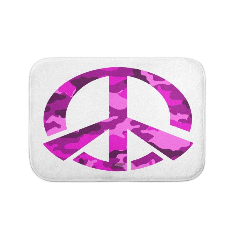 Peace - Pink Camo Edition Home Bath Mat by uniquego's Artist Shop