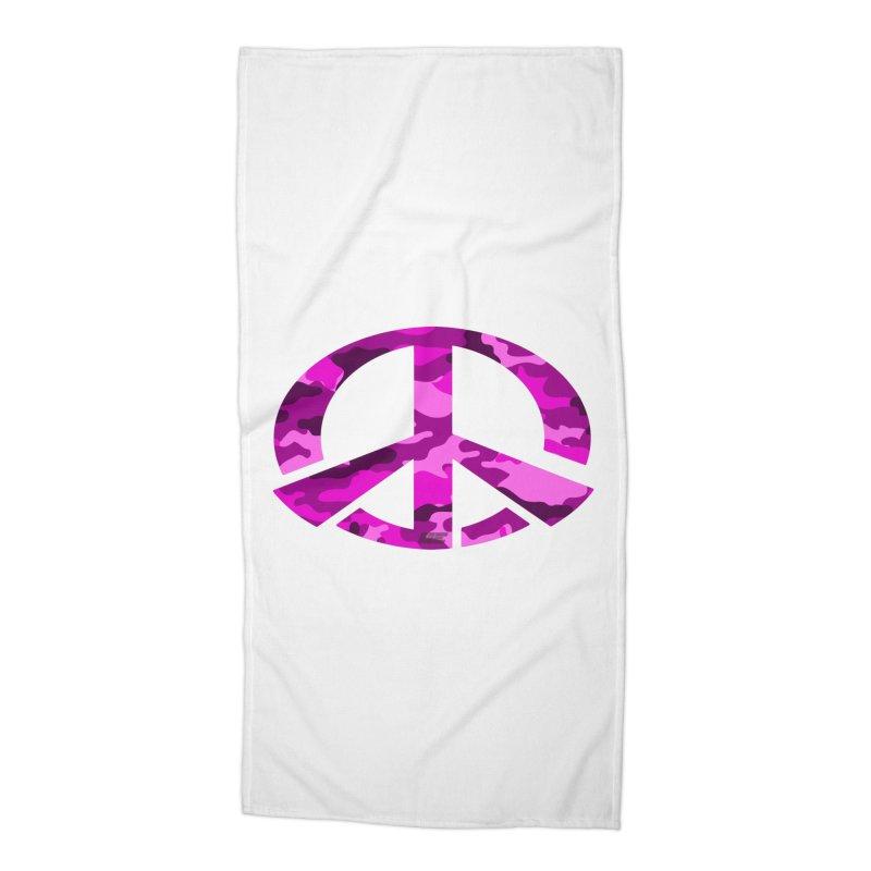 Peace - Pink Camo Edition Accessories Beach Towel by uniquego's Artist Shop