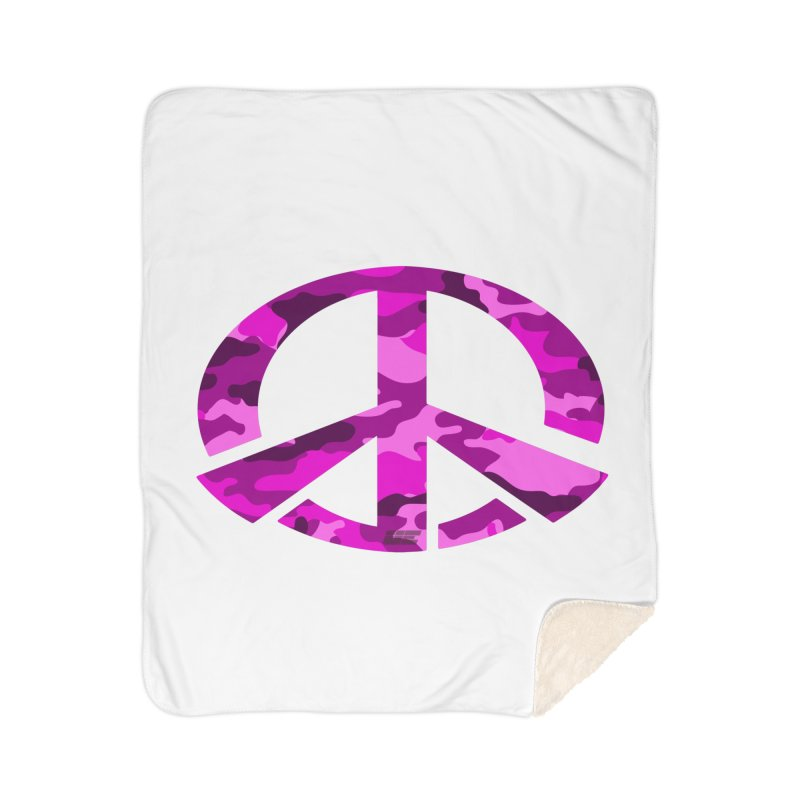 Peace - Pink Camo Edition Home Sherpa Blanket Blanket by uniquego's Artist Shop