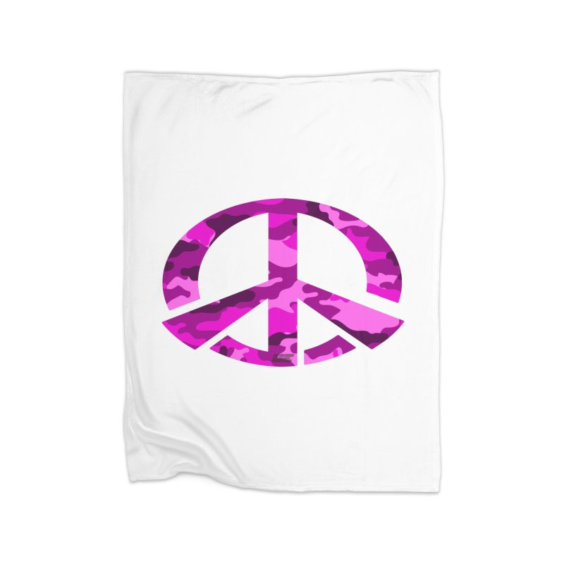 Peace - Pink Camo Edition Home Fleece Blanket Blanket by uniquego's Artist Shop