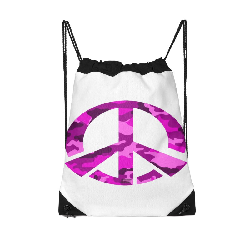 Peace - Pink Camo Edition Accessories Drawstring Bag Bag by uniquego's Artist Shop