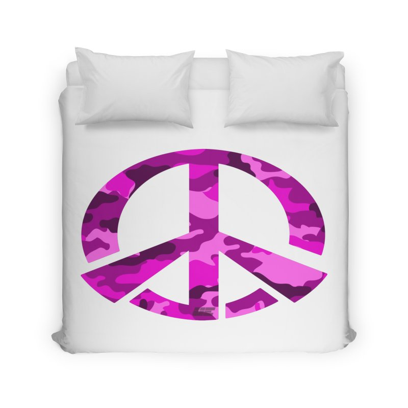 Peace - Pink Camo Edition Home Duvet by uniquego's Artist Shop