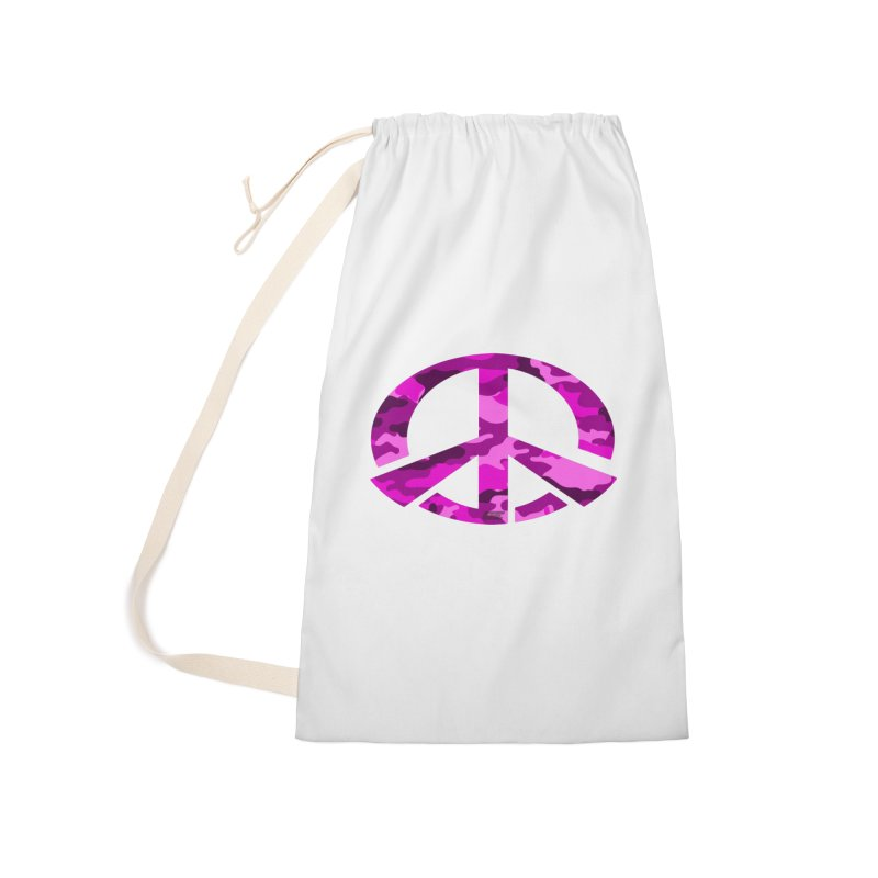 Peace - Pink Camo Edition Accessories Laundry Bag Bag by uniquego's Artist Shop