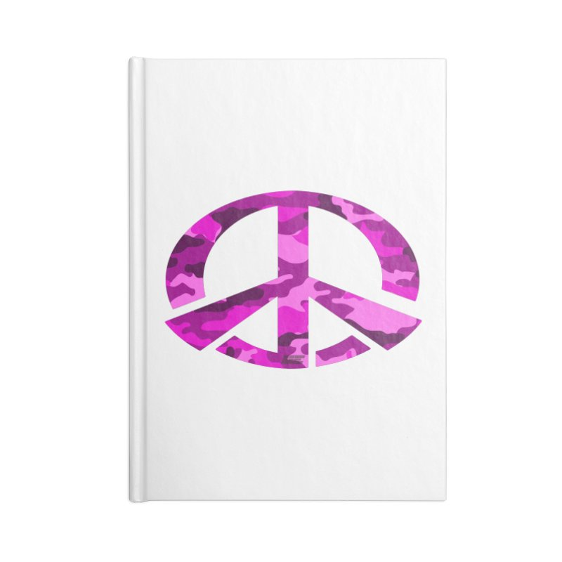 Peace - Pink Camo Edition Accessories Blank Journal Notebook by uniquego's Artist Shop