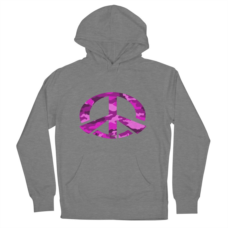 Peace - Pink Camo Edition Women's French Terry Pullover Hoody by uniquego's Artist Shop