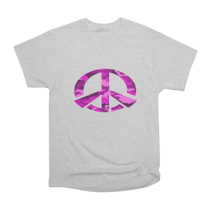 Peace - Pink Camo Edition Men's Heavyweight T-Shirt by uniquego's Artist Shop