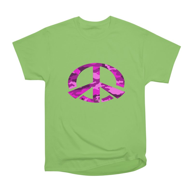 Peace - Pink Camo Edition Women's Heavyweight Unisex T-Shirt by uniquego's Artist Shop