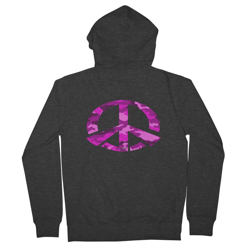 Peace - Pink Camo Edition Women's French Terry Zip-Up Hoody by uniquego's Artist Shop