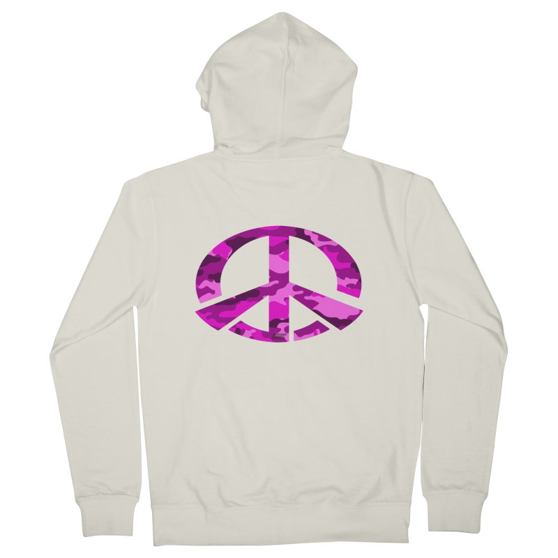 Peace - Pink Camo Edition Men's French Terry Zip-Up Hoody by uniquego's Artist Shop