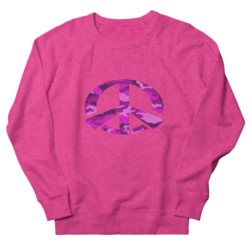 Peace - Pink Camo Edition Women's French Terry Sweatshirt by uniquego's Artist Shop