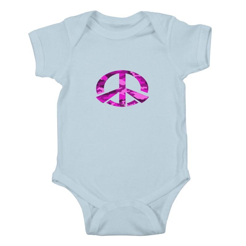 Peace - Pink Camo Edition Kids Baby Bodysuit by uniquego's Artist Shop