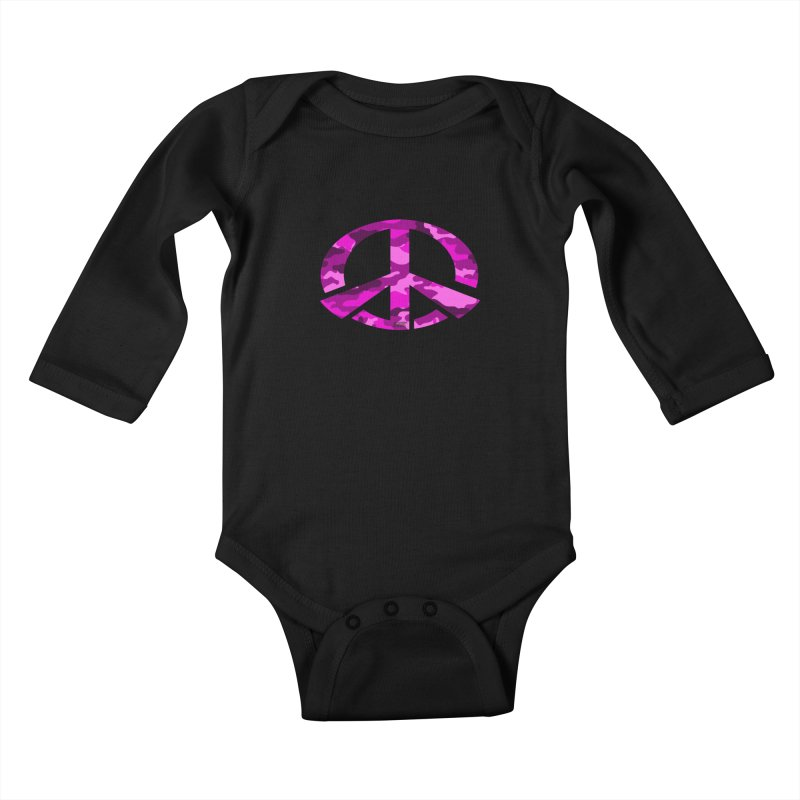 Peace - Pink Camo Edition Kids Baby Longsleeve Bodysuit by uniquego's Artist Shop