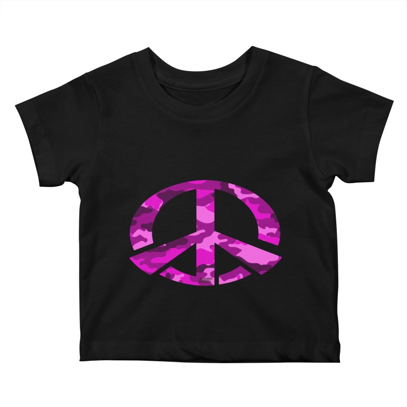 Peace - Pink Camo Edition Kids Baby T-Shirt by uniquego's Artist Shop