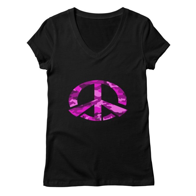 Peace - Pink Camo Edition Women's V-Neck by uniquego's Artist Shop