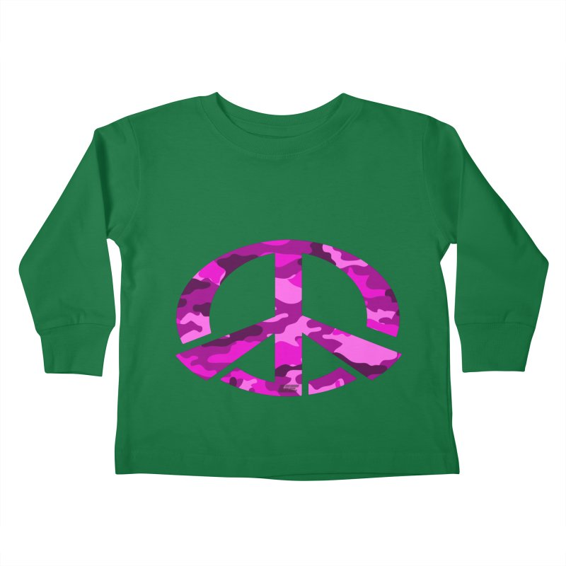 Peace - Pink Camo Edition Kids Toddler Longsleeve T-Shirt by uniquego's Artist Shop