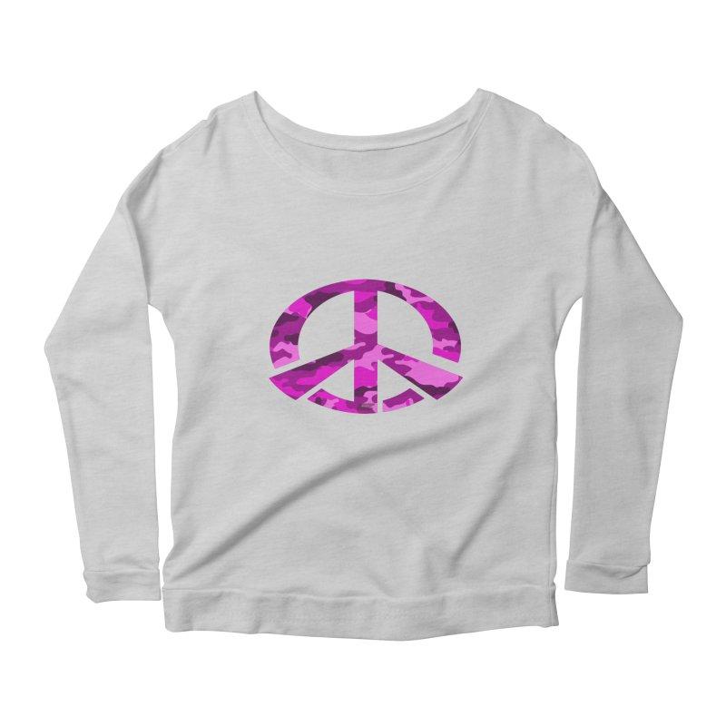 Peace - Pink Camo Edition Women's Scoop Neck Longsleeve T-Shirt by uniquego's Artist Shop